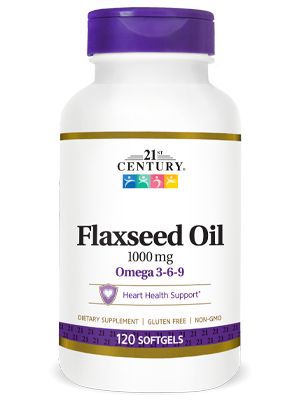 Flaxseed Oil 1000 mg by 21st Century HealthCare, Inc., view from the front.