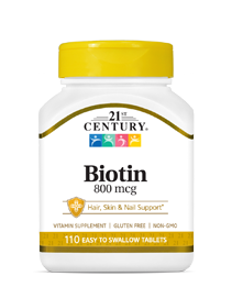 Biotin 800 mcg by 21st Century HealthCare, Inc., view from the front.