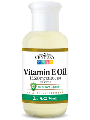 Vitamin E Oil 13,500 mg by 21st Century HealthCare, Inc., view from the front.