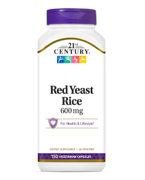 Red Yeast Rice 1200mg by 21st Century HealthCare, Inc., view from the front.