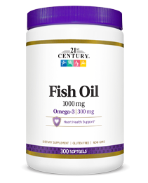 Fish Oil 1000 mg by 21st Century HealthCare, Inc., view from the front.