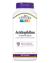 Acidophilus Probiotic Blend by 21st Century HealthCare, Inc., view from the front.