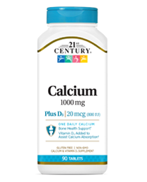 Calcium 1000 mg +D3 by 21st Century HealthCare, Inc., view from the front.