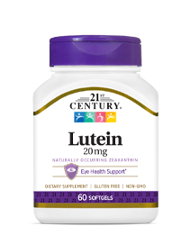 Lutein 20 mg by 21st Century HealthCare, Inc., view from the front.