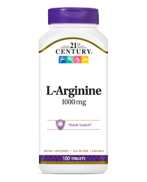 L-Arginine 1000 mg by 21st Century HealthCare, Inc., view from the front.
