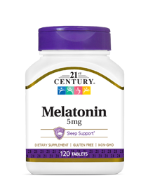 Melatonin 5 mg by 21st Century HealthCare, Inc., view from the front.