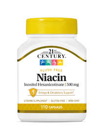 Niacin  Inositol Hexanicotinate 500 mg by 21st Century HealthCare, Inc., view from the front.