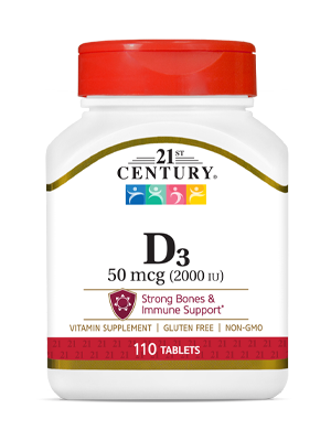 Vitamin D3 50 mcg by 21st Century HealthCare, Inc., view from the front.