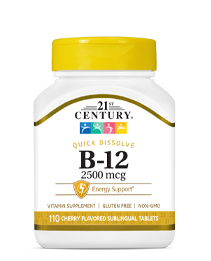 Vitamin B-12 2500 mcg by 21st Century HealthCare, Inc., view from the front.