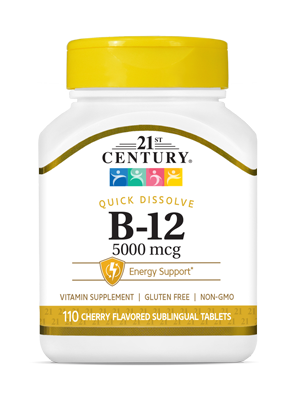 Vitamin B-12 5000 mcg by 21st Century HealthCare, Inc., view from the front.