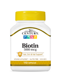 Biotin by 21st Century HealthCare, Inc., view from the front.