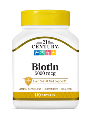 Biotin 5000 mcg by 21st Century HealthCare, Inc., view from the front.
