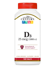 Vitamin D3 25 mcg by 21st Century HealthCare, Inc., view from the front.