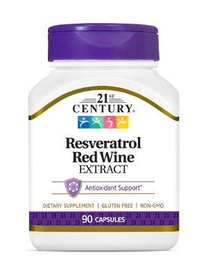 Resveratrol Red Wine Extract by 21st Century HealthCare, Inc., view from the front.