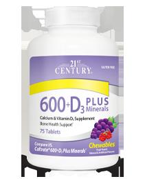 Calcium Supplement 600+D3 Plus Minerals Fruit Punch