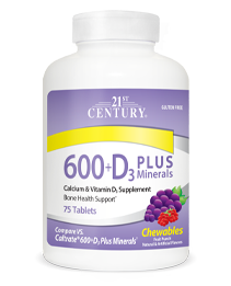 Calcium 600+D3 Plus Minerals Fruit Punch by 21st Century HealthCare, Inc., view from the front.
