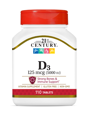 Vitamin D3 125 mcg by 21st Century HealthCare, Inc., view from the front.