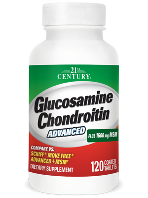 Glucosamine Chondroitin Advanced Plus 1500 mg MSM by 21st Century HealthCare, Inc., view from the front.