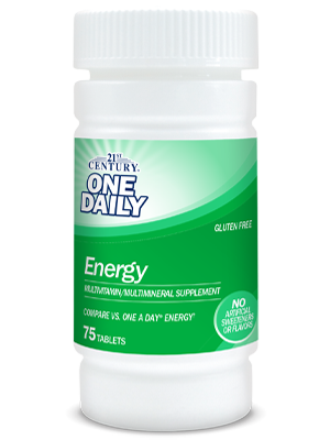 One Daily Energy by 21st Century HealthCare, Inc., view from the front.
