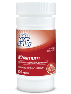 One Daily Maximum by 21st Century HealthCare, Inc., view from the front.