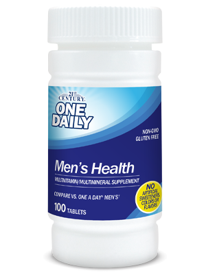 One Daily Men's Health by 21st Century HealthCare, Inc., view from the front.