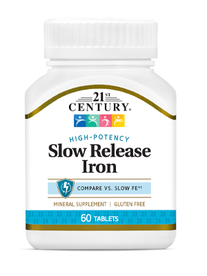 Slow Release Iron by 21st Century HealthCare, Inc., view from the front.