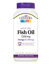 Fish Oil 1200 mg by 21st Century HealthCare, Inc., view from the front.