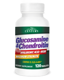 Glucosamine & Chondroitin Plus Hyaluronic Acid + MSM by 21st Century HealthCare, Inc., view from the front.