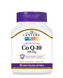 Co Q-10 100 mg by 21st Century HealthCare, Inc., view from the front.