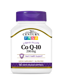 Co Q-10 200 mg by 21st Century HealthCare, Inc., view from the front.