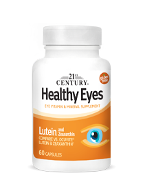 Healthy Eyes Lutein & Zeaxanthin by 21st Century HealthCare, Inc., view from the front.
