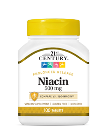 Niacin 500 mg by 21st Century HealthCare, Inc., view from the front.