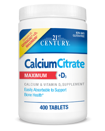 Calcium Citrate+D3 Maximum by 21st Century HealthCare, Inc., view from the front.