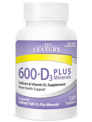 Calcium 600+D3 Plus Minerals by 21st Century HealthCare, Inc., view from the front.