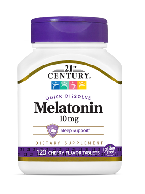 Melatonin 10 mg Cherry by 21st Century HealthCare, Inc., view from the front.