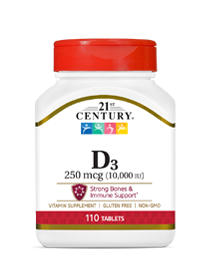 Vitamin D3 250 mcg by 21st Century HealthCare, Inc., view from the front.