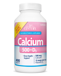 Calcium 500+D3 by 21st Century HealthCare, Inc., view from the front.