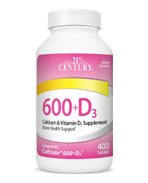 Calcium 600+D3 by 21st Century HealthCare, Inc., view from the front.