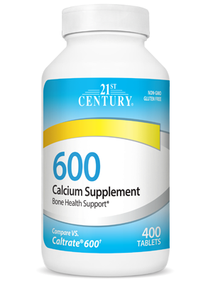 Calcium 600 mg by 21st Century HealthCare, Inc., view from the front.