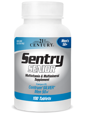 Sentry Senior Mens 50+ by 21st Century HealthCare, Inc., view from the front.
