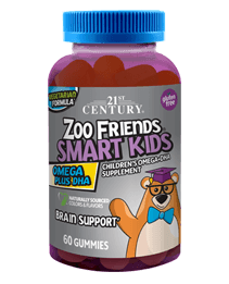 Zoo Friends® Smart Kids Omega Plus DHA by 21st Century HealthCare, Inc., view from the front.