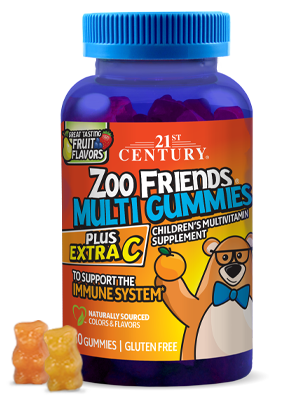 Zoo Friends® Multi Gummies Plus Extra C  by 21st Century HealthCare, Inc., view from the front.