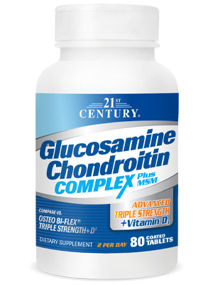 Glucosamine Chondroitin Complex Plus MSM+D3 by 21st Century HealthCare, Inc., view from the front.
