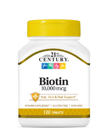Biotin 10000 mcg by 21st Century HealthCare, Inc., view from the front.