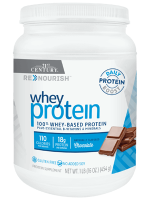 ReNourish Whey Protein Chocolate by 21st Century HealthCare, Inc., view from the front.