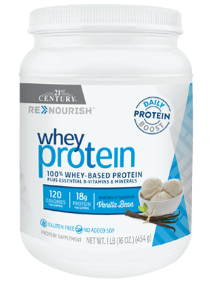 ReNourish Whey Protein Vanilla Bean by 21st Century HealthCare, Inc., view from the front.