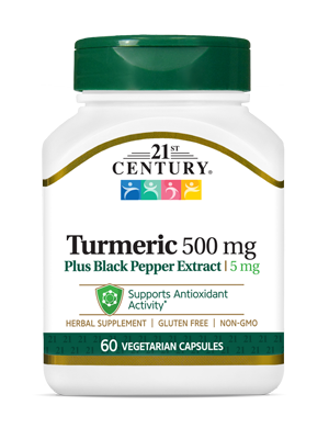 Turmeric 500 mg Plus Black Pepper Extract by 21st Century HealthCare, Inc., view from the front.