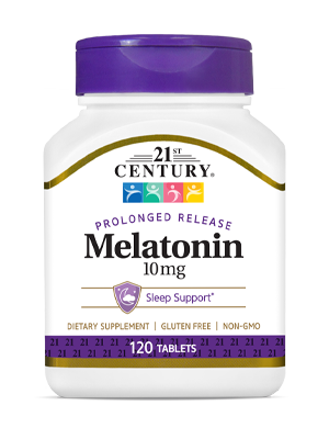 Melatonin 10mg by 21st Century HealthCare, Inc., view from the front.