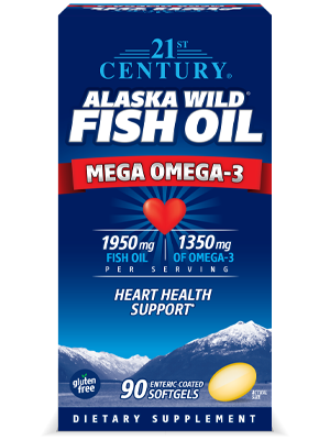 Alaska Wild® Fish Oil Mega Omega-3 by 21st Century HealthCare, Inc., view from the front.