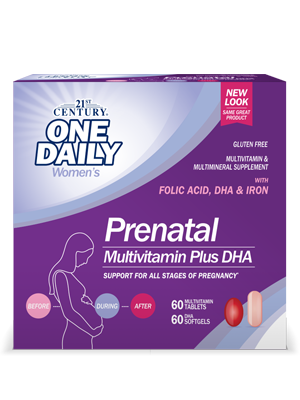 Prenatal Multivitamin Plus DHA by 21st Century HealthCare, Inc., view from the front.